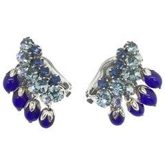 Vintage Electric Blue Glass Earclimber Drop Earrings 1950S