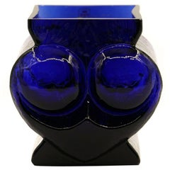 Vintage Electric Blue Glass Vase, Glasswork Skruf, 1970s