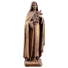 Elegant vintage Sainte-Thérèse of Lisieux sculpture, folk art in painted plaster