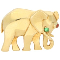 Vintage Cartier Ruby and Emerald Elephant Pin Set in 18k Yellow Gold
