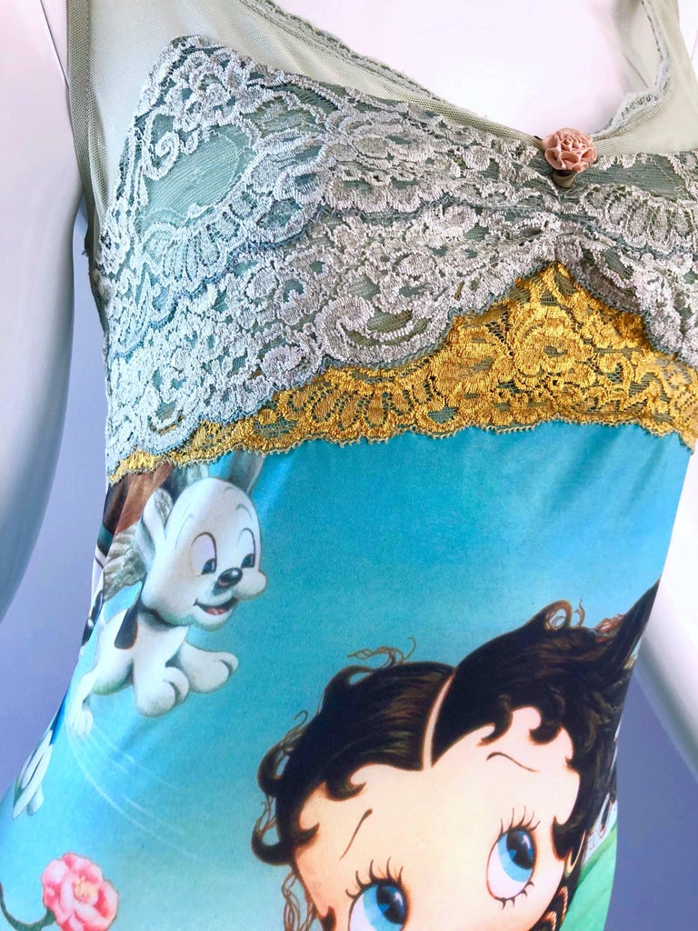 Vintage Eletra Casadei 90s Size Large Betty Boop Birth of Venus Novelty Dress In Excellent Condition For Sale In Chicago, IL
