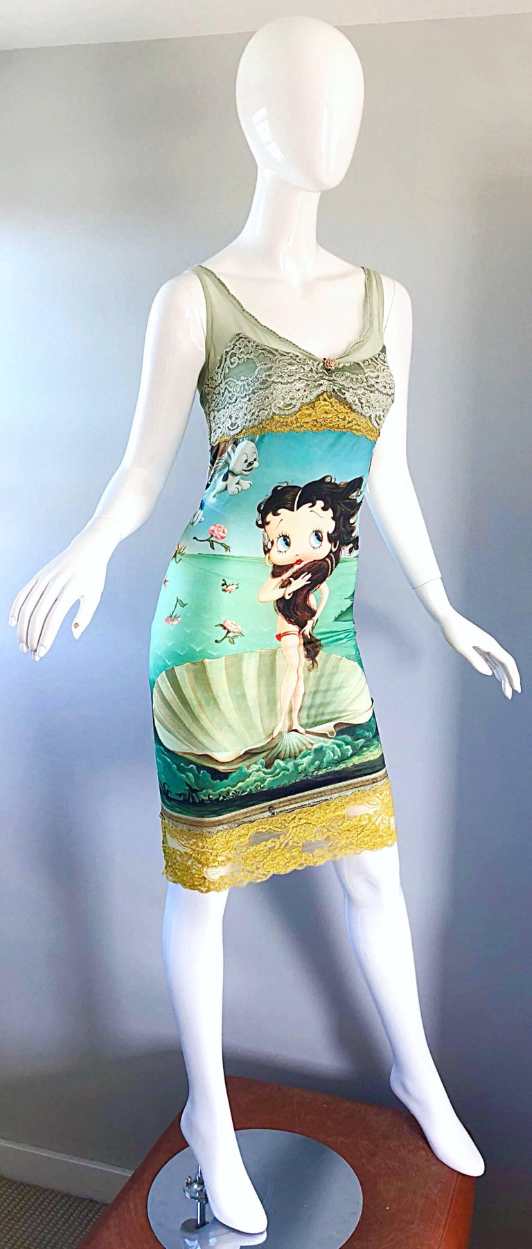 Vintage Eletra Casadei 90s Size Large Betty Boop Birth of Venus Novelty Dress For Sale 2