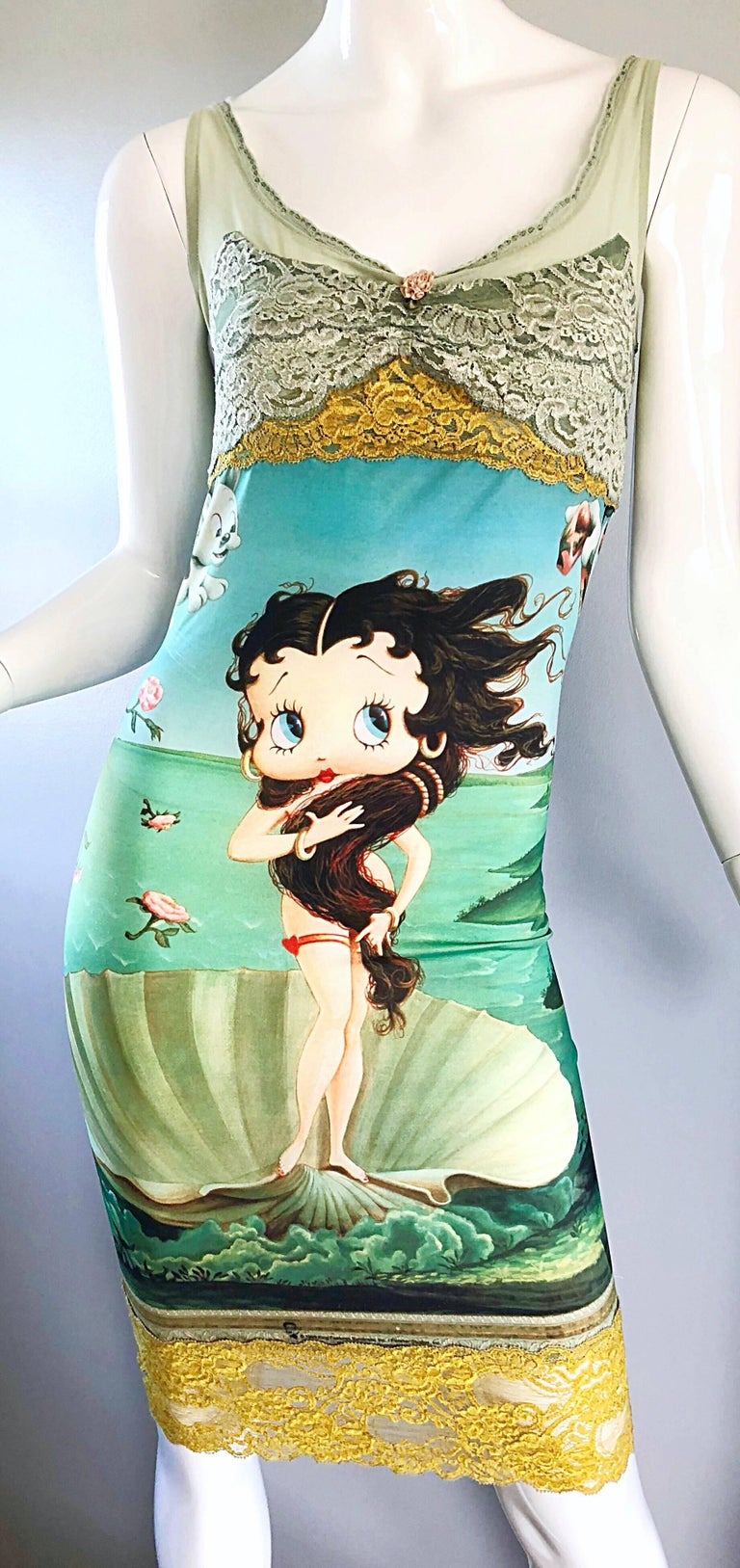 Vintage Eletra Casadei 90s Size Large Betty Boop Birth of Venus Novelty Dress For Sale 4