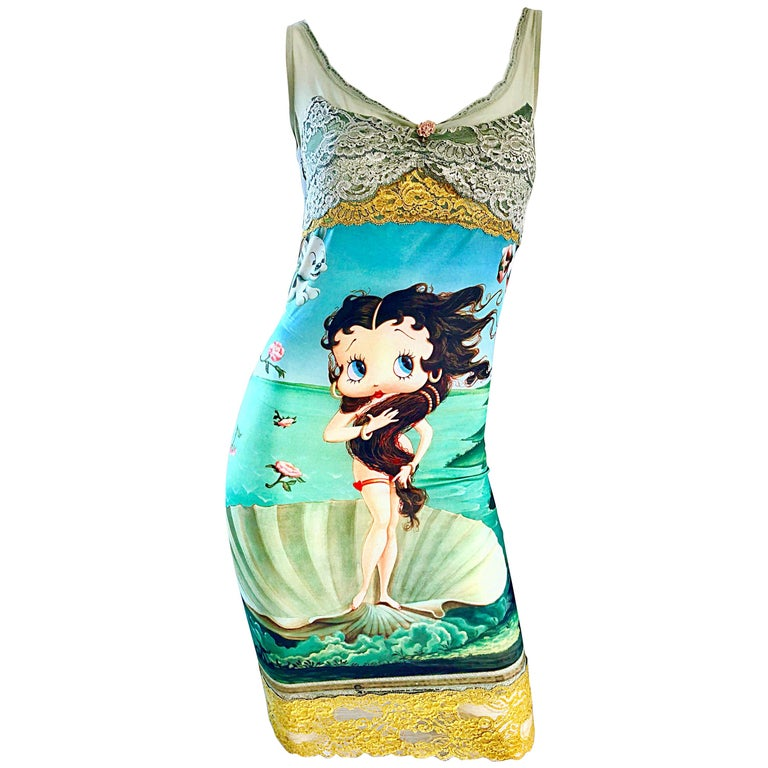 Vintage Eletra Casadei 90s Size Large Betty Boop Birth of Venus Novelty Dress For Sale