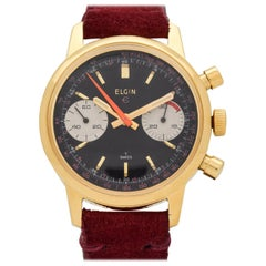 Vintage Elgin Chronograph Yellow Gold-Plated and Base Metal Watch, 1970s