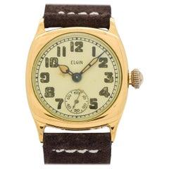 Vintage Elgin Cushion-Shaped 10 Karat Yellow Gold Filled Watch, 1925