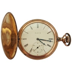 Vintage Elgin Gold-Plated Pocket Watch, Year 1907, Floral Bird Case, 7 Jewel