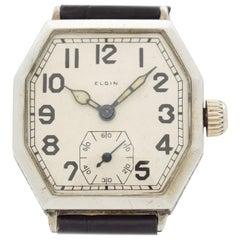 Vintage Elgin Octagonal-Shaped Nickle Watch, 1928