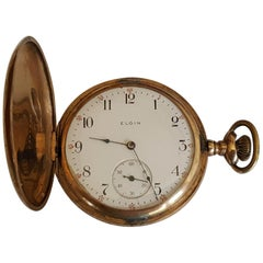 Vintage Elgin Pocket Watch, Yellow Gold Filled, Year 1906, 15 Jewel