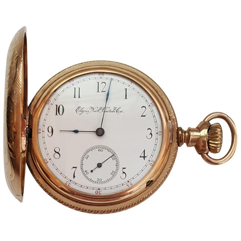 Vintage Elgin Pocket Watch Yellow Gold Plated Case Year 1893 7 Jewel For Sale At 1stdibs