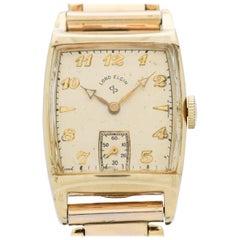 Vintage Elgin Rectangular-shaped 14 Karat Yellow Gold Filled Watch, 1949
