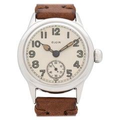 Vintage Elgin WWII-Era Military Base Metal Watch, 1944