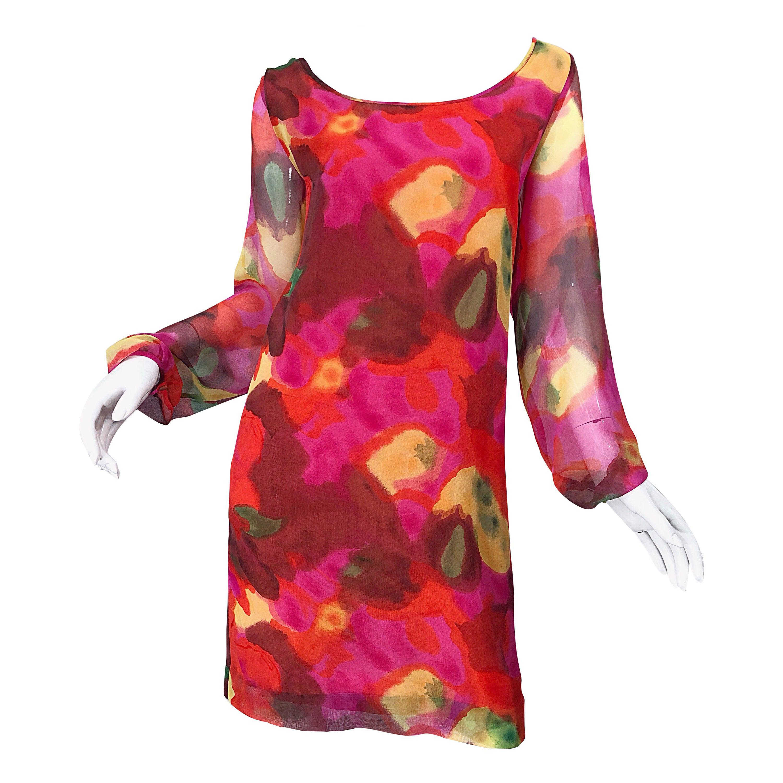 Vintage Elizabeth Arden Silk Chiffon 1960s Style Hot Pink Watercolor Dress