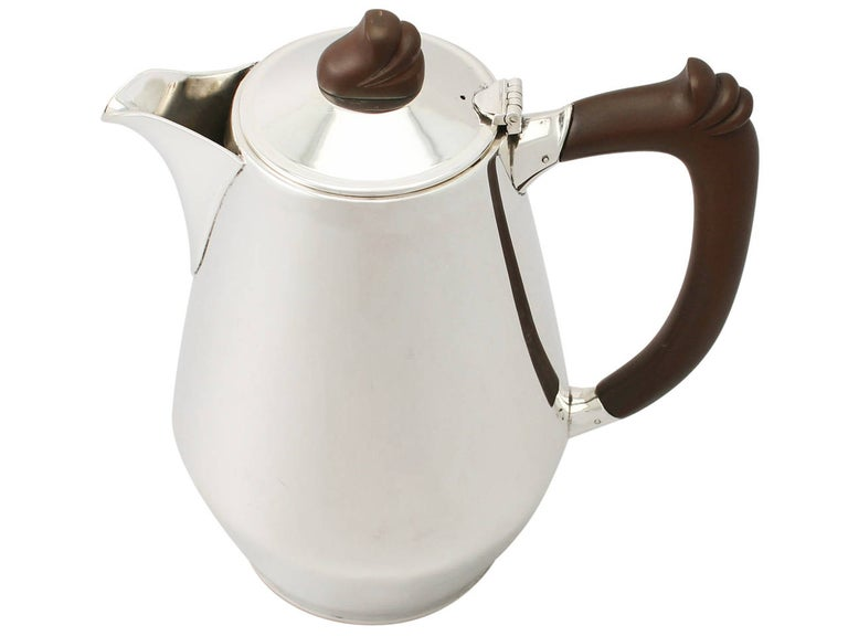 Mid-20th Century Vintage Elizabeth II Art Deco Style English Sterling Silver Coffee Jug For Sale