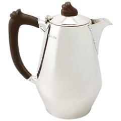 Vintage Elizabeth II Art Deco Style English Sterling Silver Coffee Jug