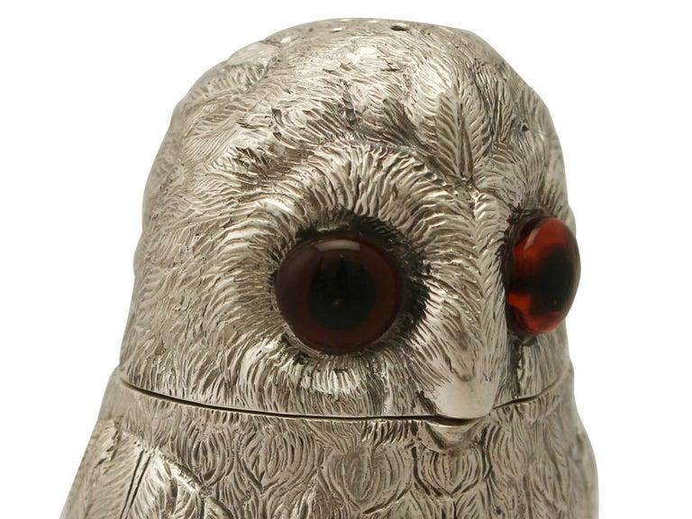 Vintage Elizabeth II Sterling Silver Owl Pepperettes For Sale 2