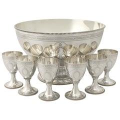 Vintage Elizabeth II Sterling Silver Punch Bowl and Goblets by CJ Vander Ltd.