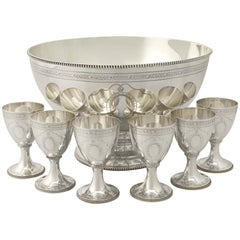 Vintage Elizabeth II Sterling Silver Punch Bowl and Goblets by CJ Vander Ltd.