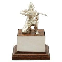 Vintage Elizabeth II Sterling Silver 'Soldier' Presentation Trophy, 1966