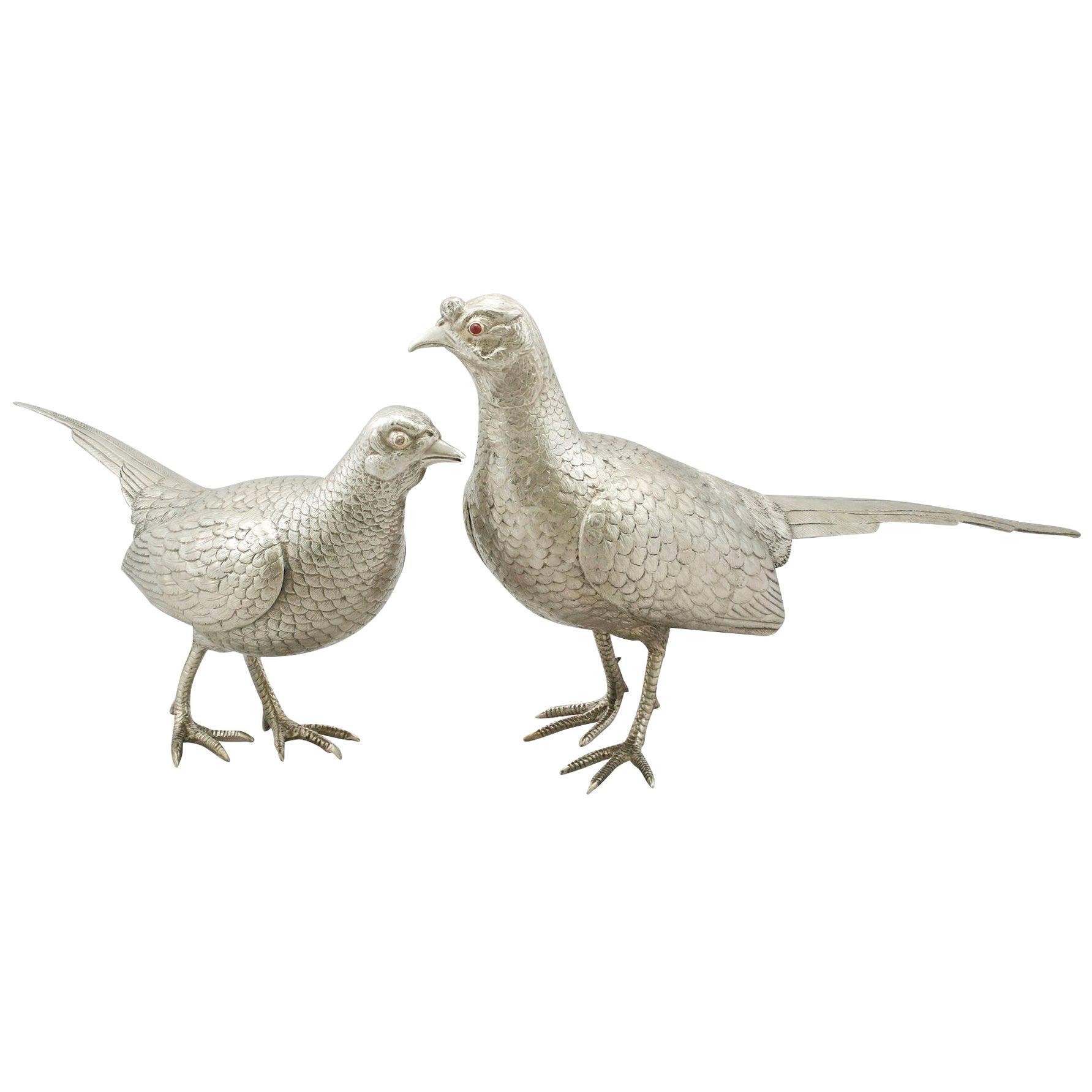 Vintage Elizabeth II Sterling Silver Table Pheasants