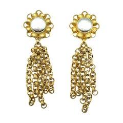 Vintage Ellen Designs Statement Gold Chain Tassle Earrings 1980s