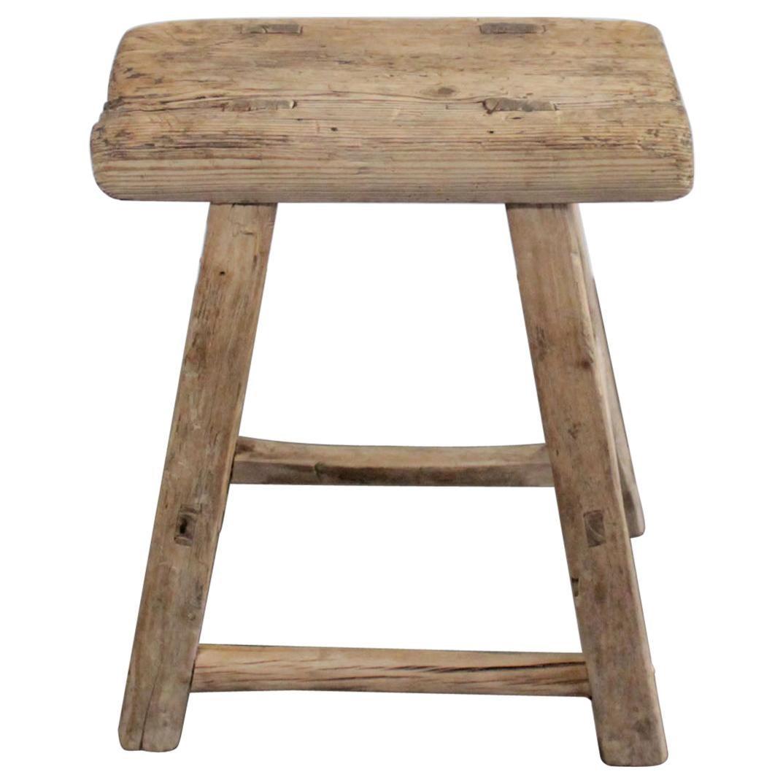 Vintage Elmwood Antique Stool or Side Table
