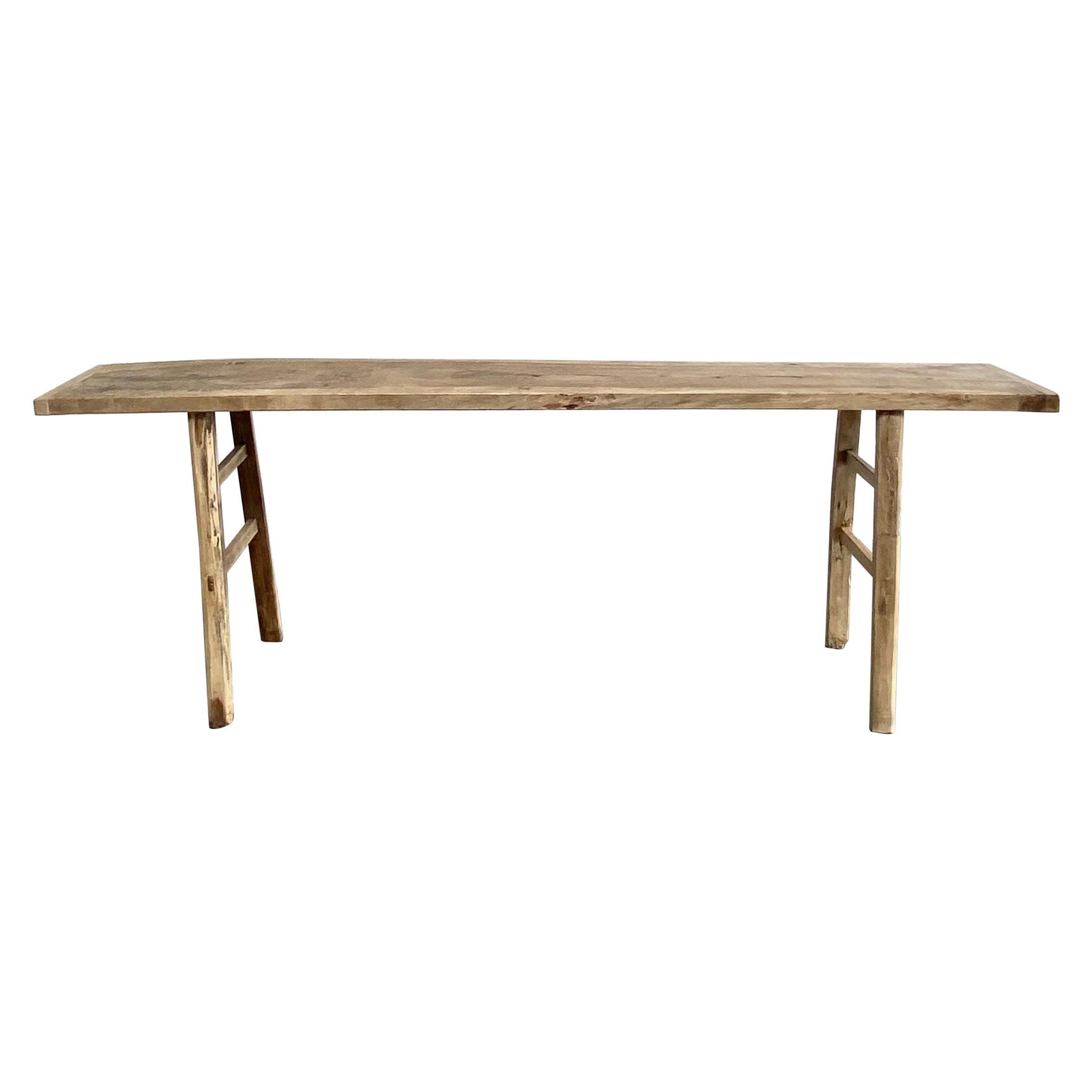 Vintage Elm Wood Rustic Console Table