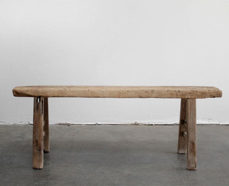 Vintage elm wood skinny bench