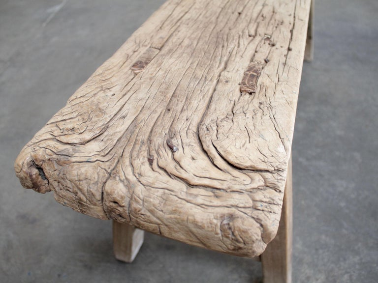 Vintage Elm Wood Skinny Bench For Sale 2