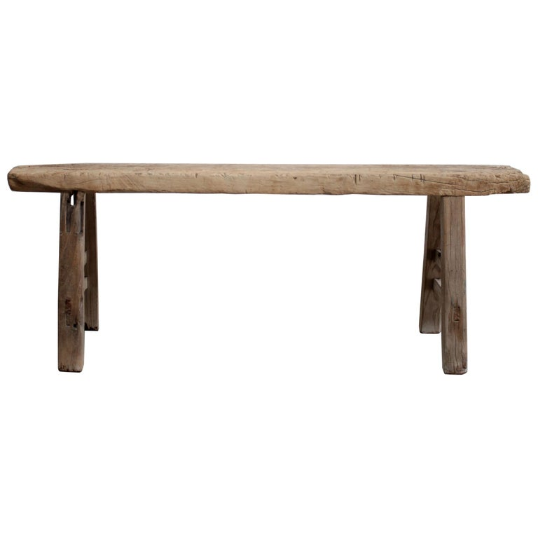 Vintage Elm Wood Skinny Bench For Sale