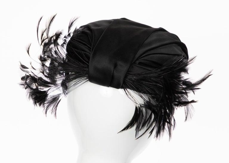 Women's Vintage Elsa Schiaparelli Black Sculpted Satin Hat With Feathers For Sale