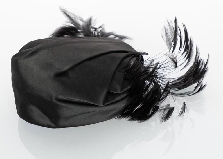 Vintage Elsa Schiaparelli Black Sculpted Satin Hat With Feathers For Sale 1
