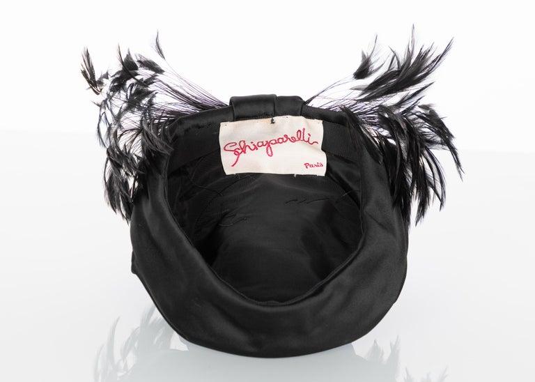Vintage Elsa Schiaparelli Black Sculpted Satin Hat With Feathers For Sale 2