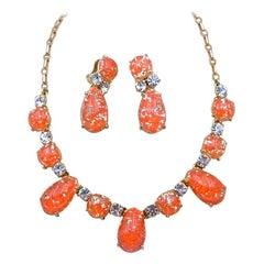 Vintage Elsa Schiaparelli Orange Glass Necklace and Earrings 1950's