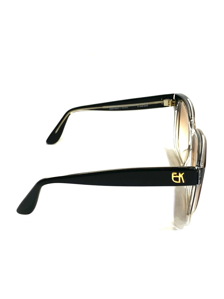 Vintage Emanuel Khanh Paris Square Sunglasses In Excellent Condition For Sale In Beverly Hills, CA