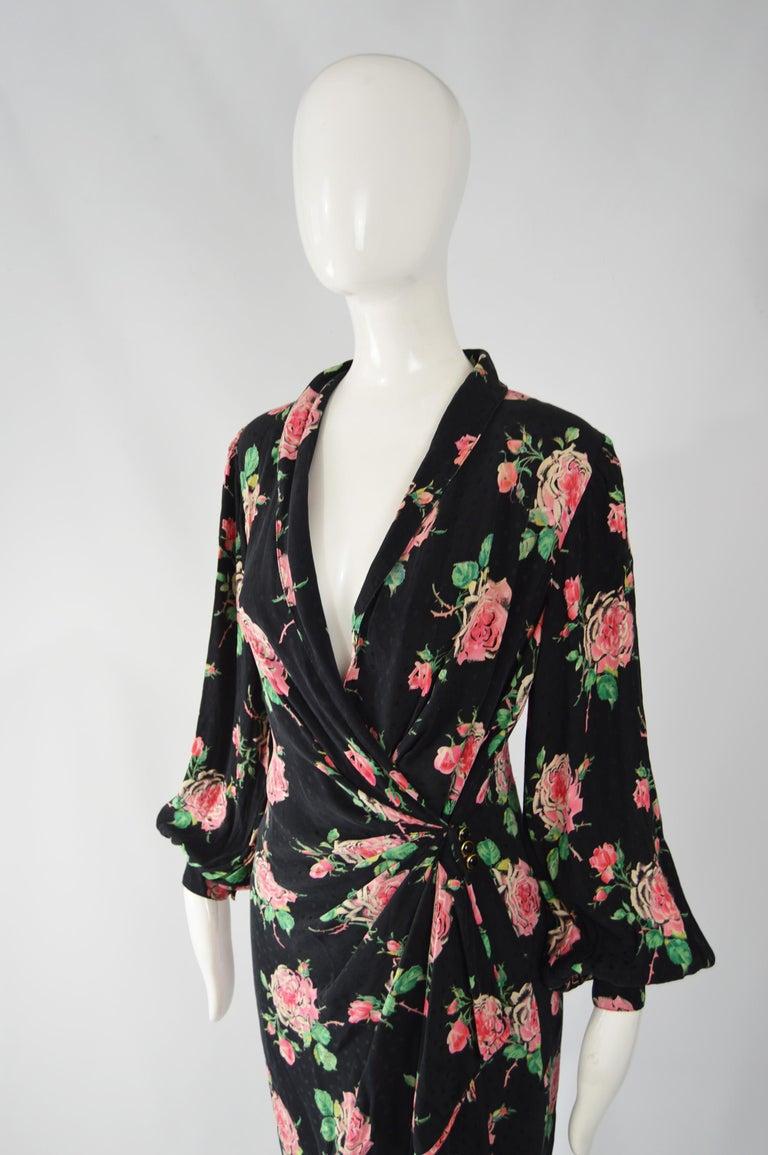 Black Vintage Emanuel Ungaro 1980s Silk Dress For Sale