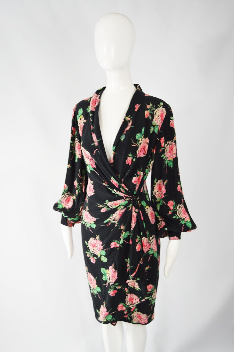 Vintage Emanuel Ungaro 1980s Silk Dress In Excellent Condition For Sale In Doncaster, South Yorkshire