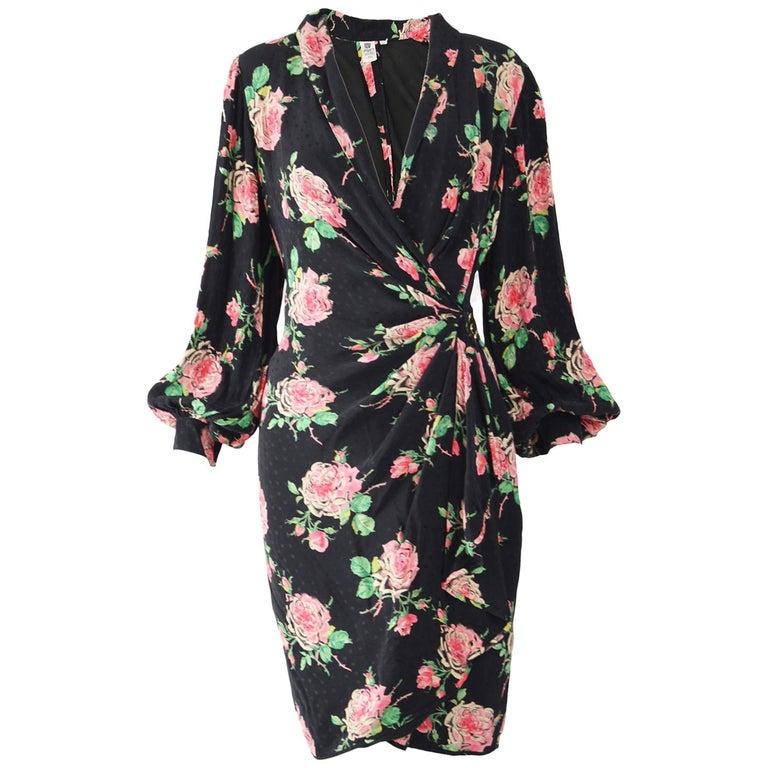 Vintage Emanuel Ungaro 1980s Silk Dress For Sale
