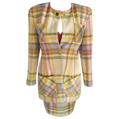 Vintage Emanuel Ungaro Couture Pastel Plaid Jacket & Skirt Suit FR 38/ US 4 6