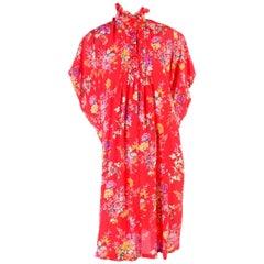 Vintage Emanuel Ungaro Dress in Red Floral Silk W High Neck & Dramatic Shoulders