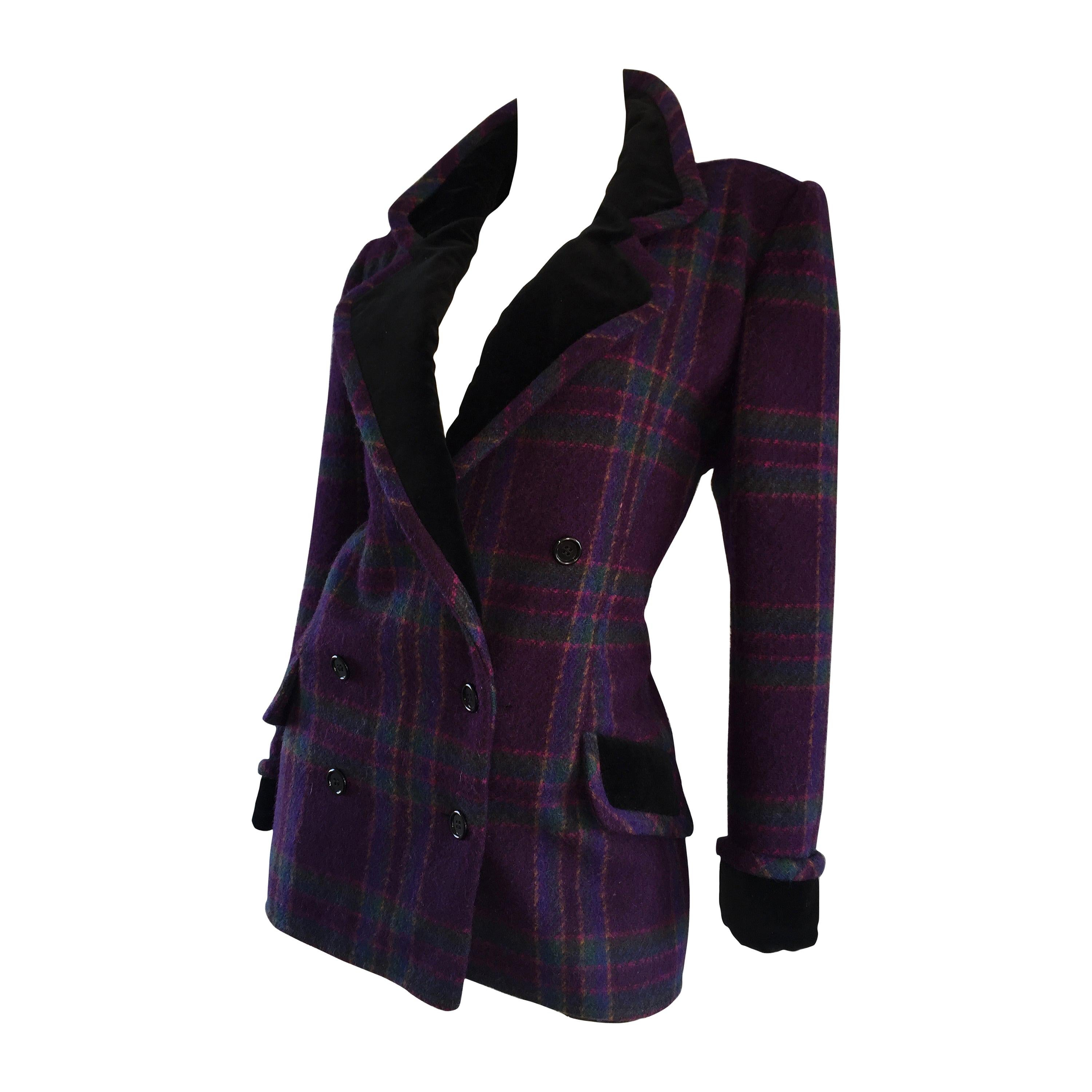 Vintage Emanuel Ungaro Purple, Green, Fuchsia Plaid Wool & Velvet Jacket Blazer