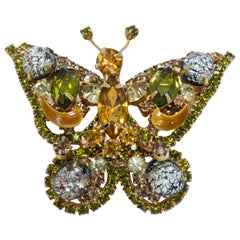 Vintage Embellished Gold and Green Crystal Butterfly Pin Brooch, Retro