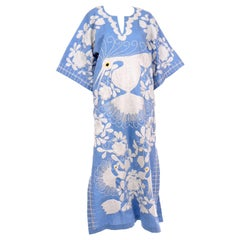 Vintage Embroidered Blue and White Caftan Dress With Floral Bird Motif