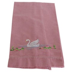 Vintage Embroidered Hand Towel in Pink Depicting a Swam