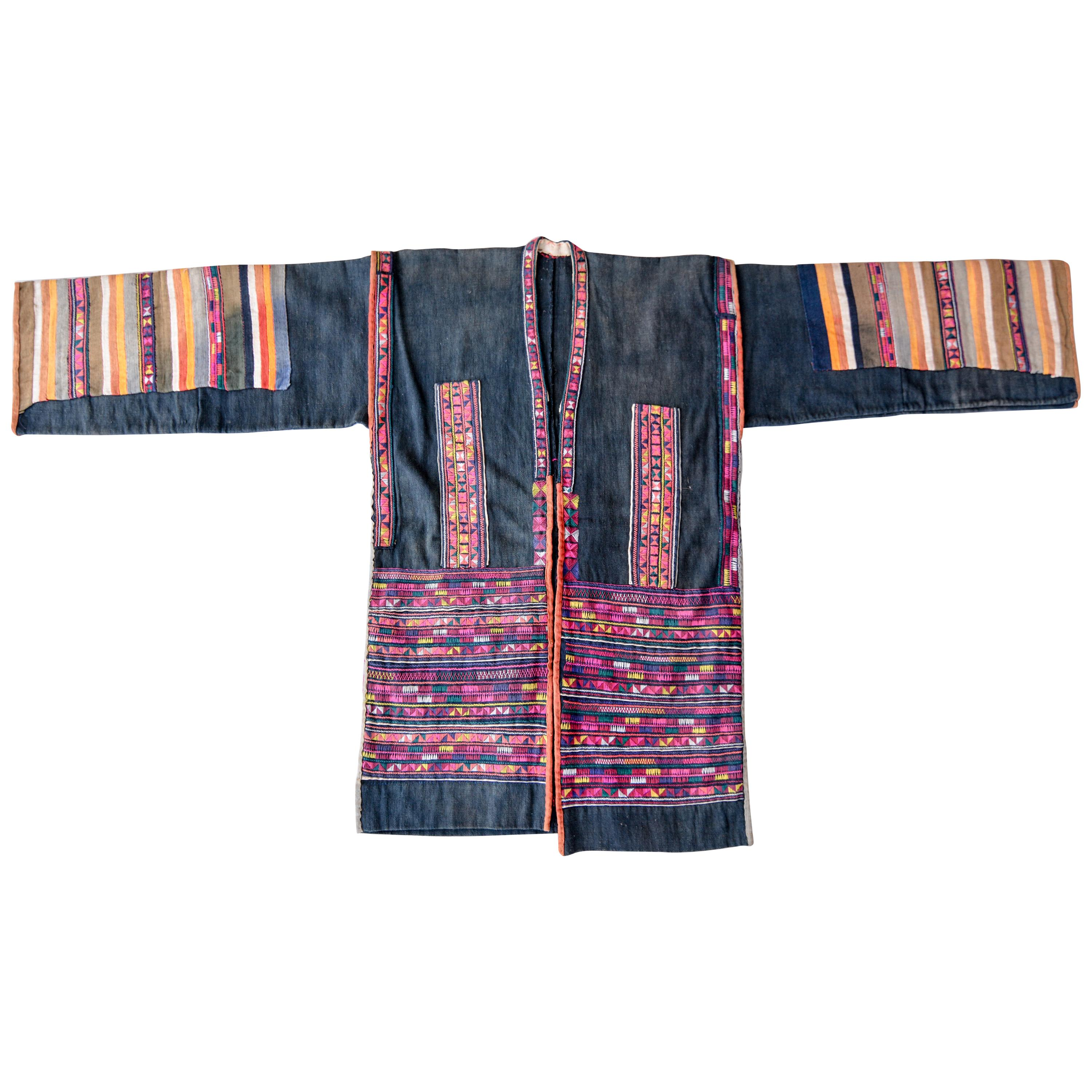 Vintage Embroidered Jacket from the Akha of North Thailand, Mid-20th Century
