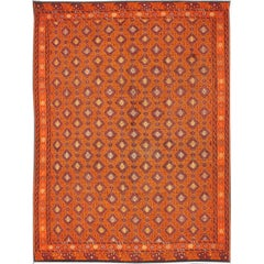 Vintage Embroidered Kilim in Orange, Red, light Blue and yellow Colors