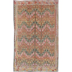 Vintage Embroidered Kilim Jajeem Rug in Green, Red, Charcoal, Blue and Lavender