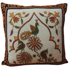 Vintage Embroidered Orange and Green Indian Decorative Pillow