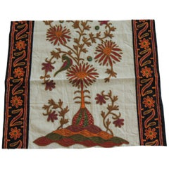 Vintage Embroidered Orange and Green Indian Textile