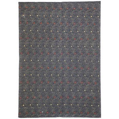 Vintage Embroidered Silk Rug with Victorian Gothic Style